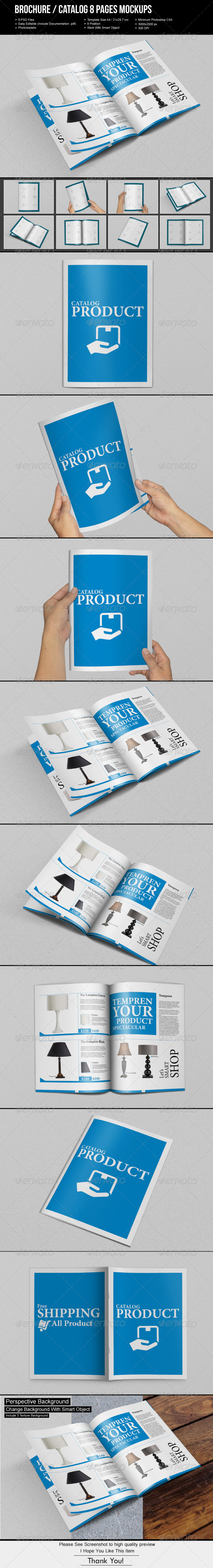 GraphicRiver Brochure Catalog 8 Pages Mockups 7010283