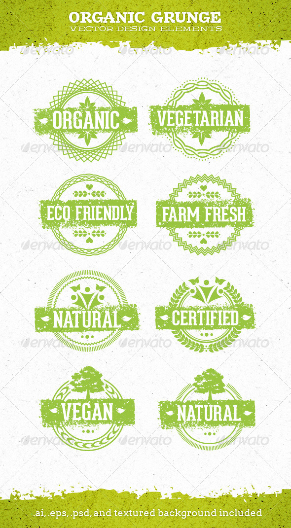 GraphicRiver Organic Grunge Eco Natural Vector Elements 7010403