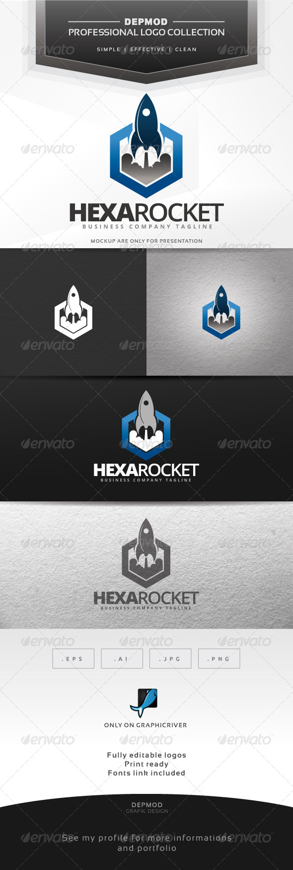 GraphicRiver Hexa Rocket Logo 7010462