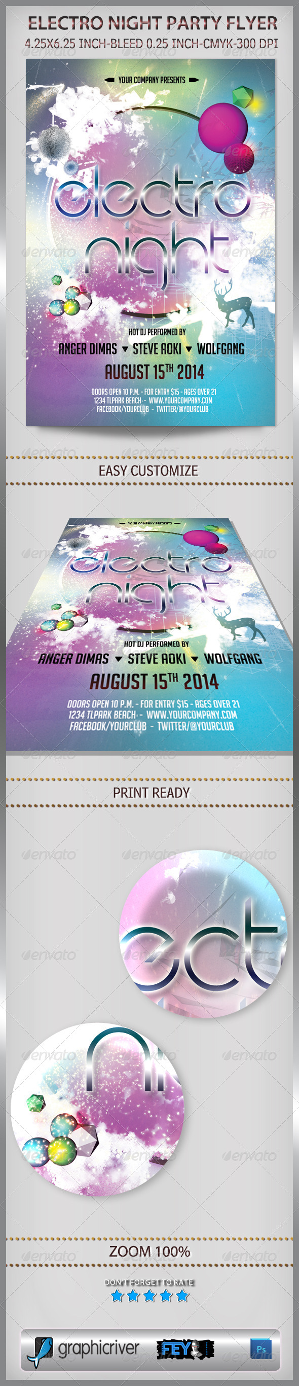 GraphicRiver Electro Night Party Flyer 7006349