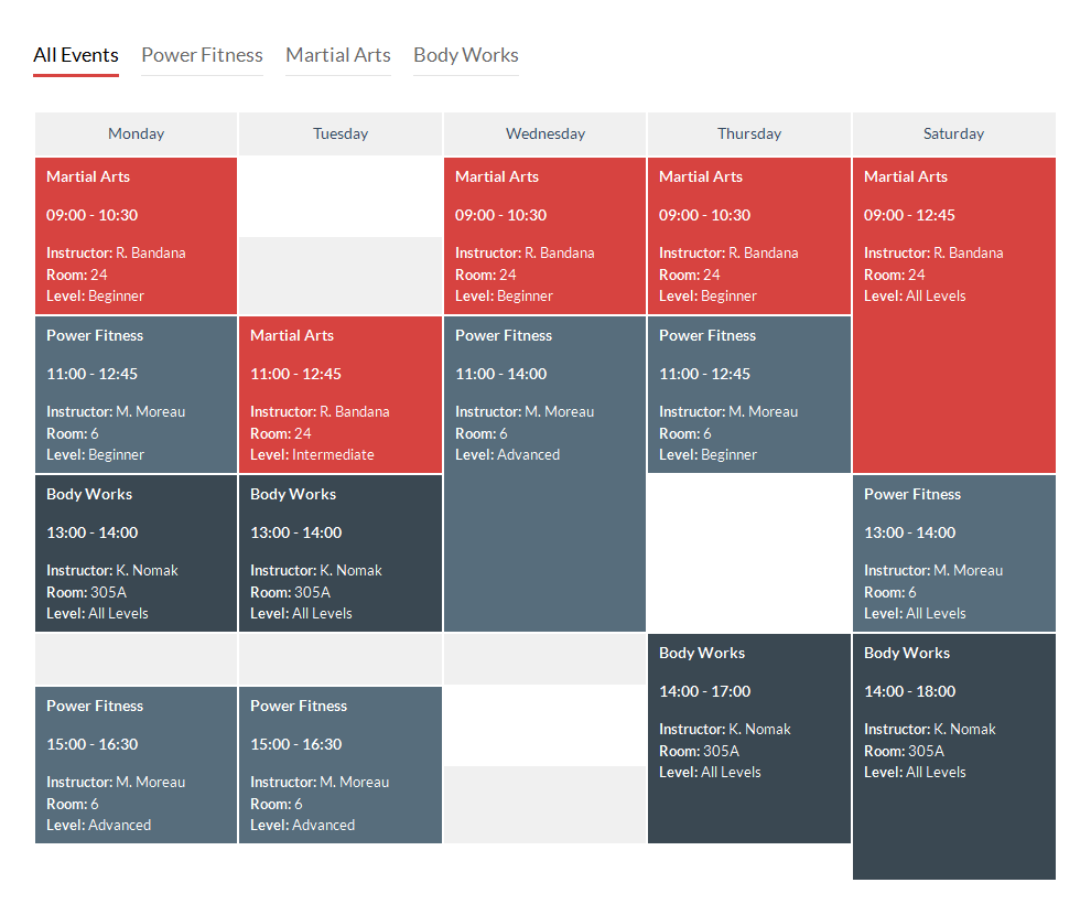 Timetable responsive schedule for wordpress by for Table 6 hours