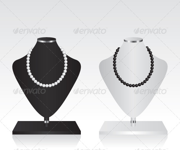 GraphicRiver Black and White Mannequin Jewelry Stand 7010837