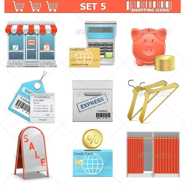 GraphicRiver Shopping Icons Set 5 7010946