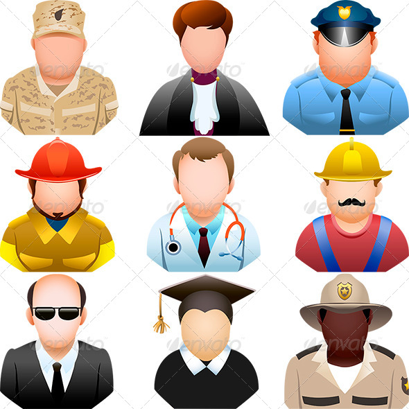 GraphicRiver People in Uniform Icon Set 7011403