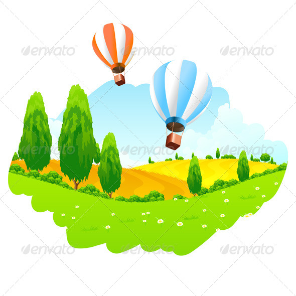 GraphicRiver Green Landscape with Hot Air Balloon in the Sky 7012379