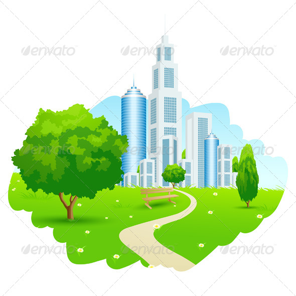 GraphicRiver Green Landscape with City 7012463