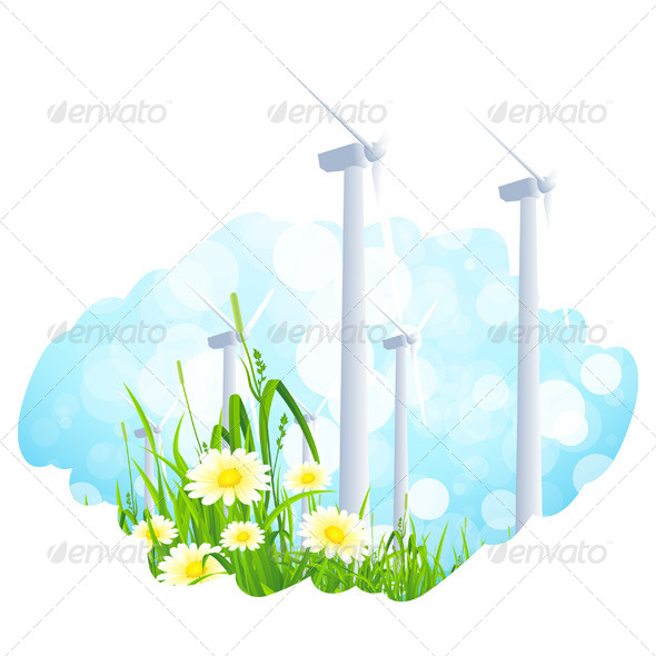GraphicRiver Background with Wind Power Plant and Flowers 7012521