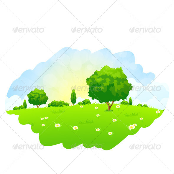 GraphicRiver Green Landscape with Trees 7012543