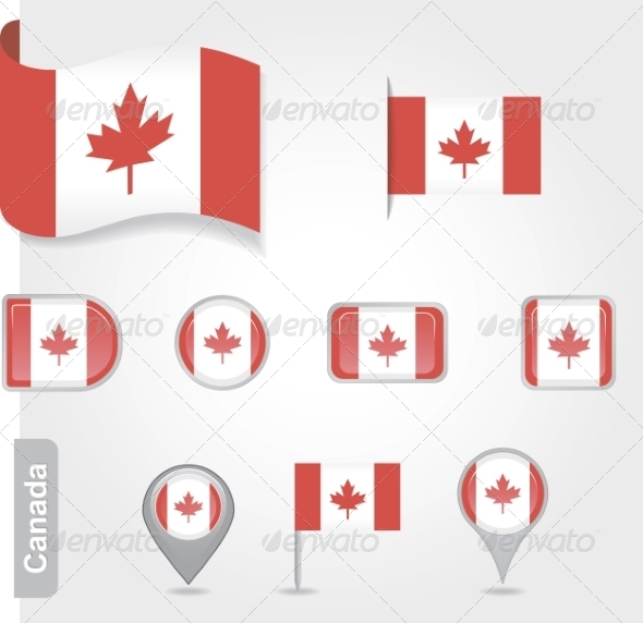 GraphicRiver Set of Candadian Icons and Flags 7013222