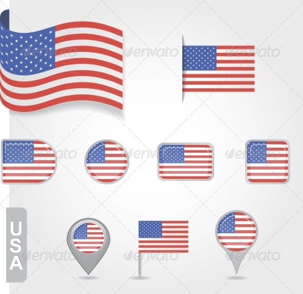 GraphicRiver USA Flag Icon Set 7013265