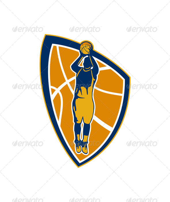 GraphicRiver Basketball Player Jump Shot Retro Shield 7013944