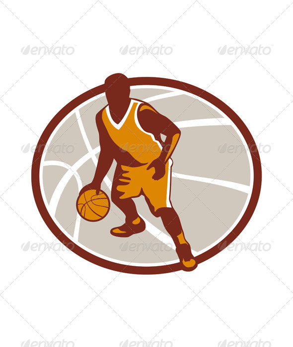 GraphicRiver Basketball Player Dribbling Ball Oval Retro 7013949