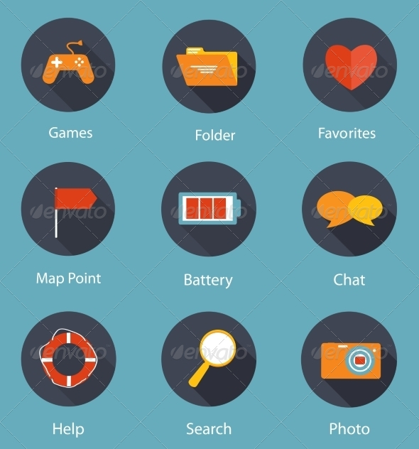 GraphicRiver Set of Flat Icons Vector Illustration 7013978