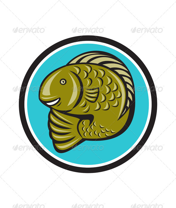 GraphicRiver Trout Fish Jumping Circle Cartoon 7013980