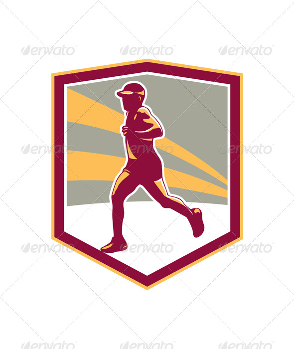 GraphicRiver Marathon Runner Shield Retro 7014015