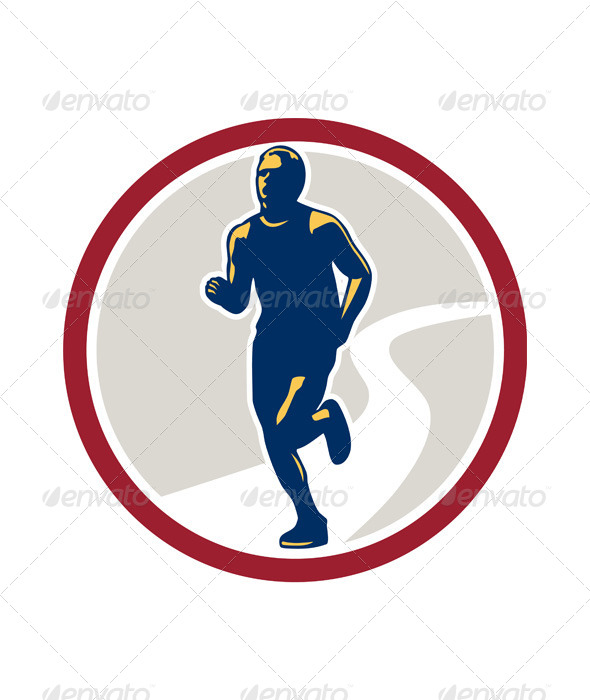 GraphicRiver Marathon Runner Running Circle Retro 7014022