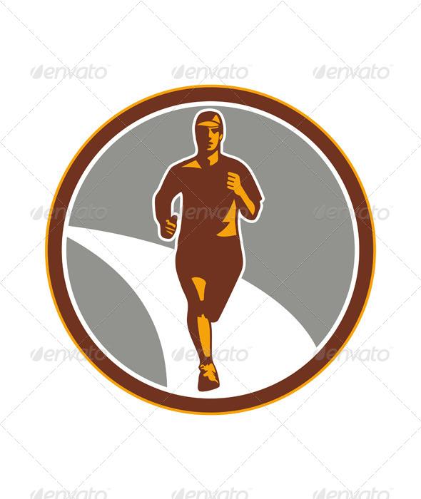 GraphicRiver Marathon Runner Front Circle Retro 7014027