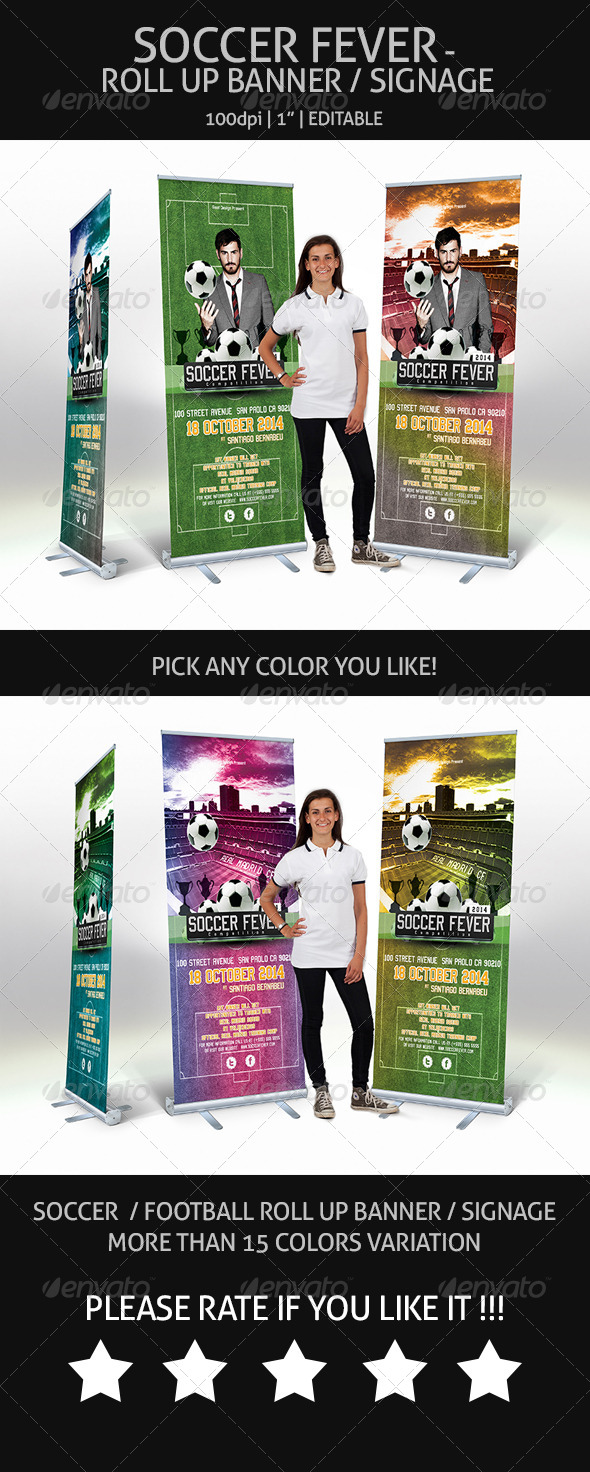 GraphicRiver Soccer Fever Roll Up Banner Signage 7016411
