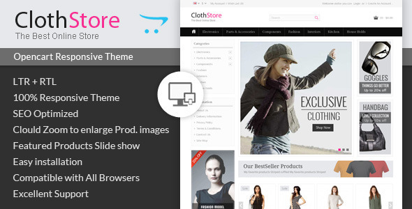 ThemeForest ClothStore Opencart Responsive Theme 7016810