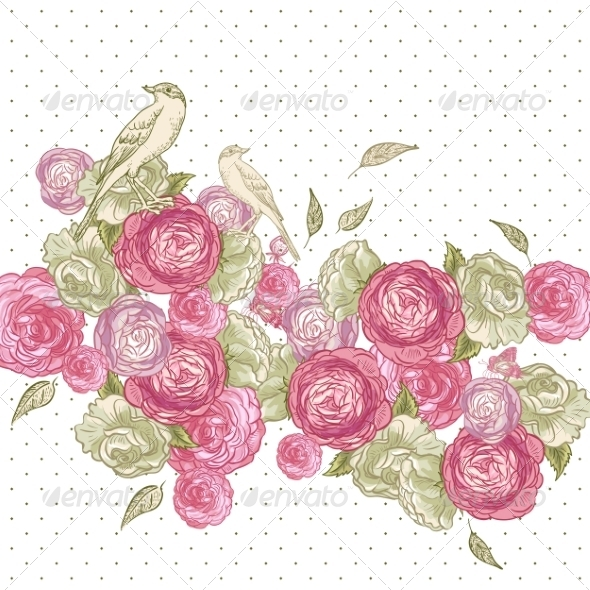 GraphicRiver Rose Background with Birds and Butterflies 7017316