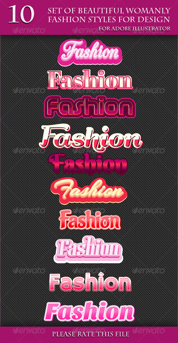 GraphicRiver Set of Beautiful Womanly Fashion Styles for Design 7017796