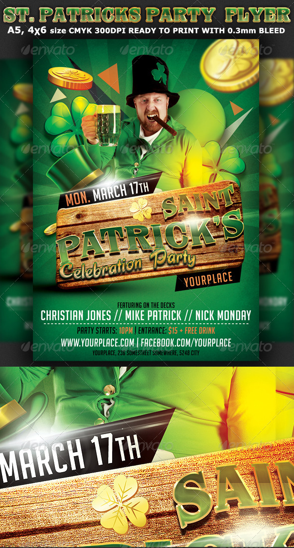GraphicRiver St Patricks Party Flyer Template 7018280
