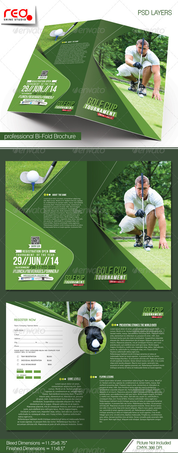 golf brochure templates - golf tournament bi fold brochure template corporate