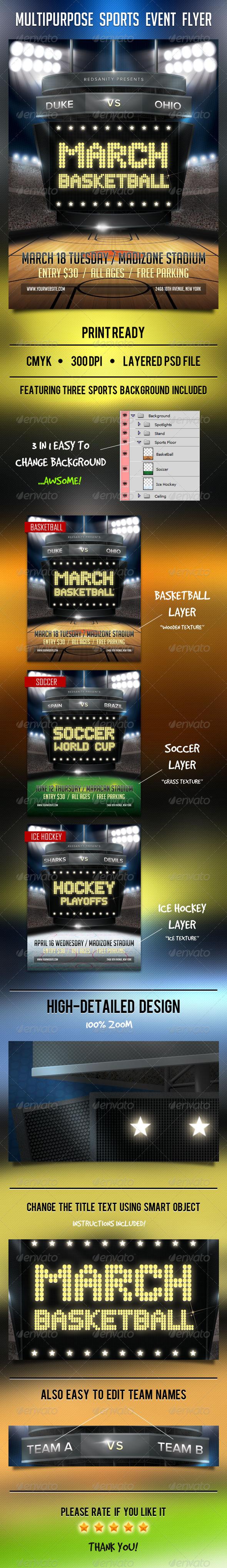 GraphicRiver Multipurpose Sports Event Flyer 7018689