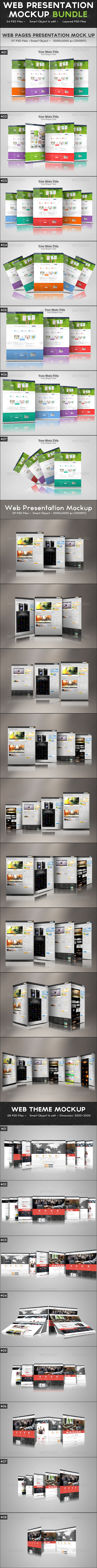 GraphicRiver Web Presentation Mockup Bundle 7019145