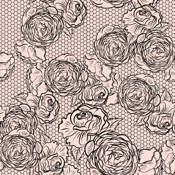 GraphicRiver Vintage Monochrome Roses Pattern with Lace 7019280