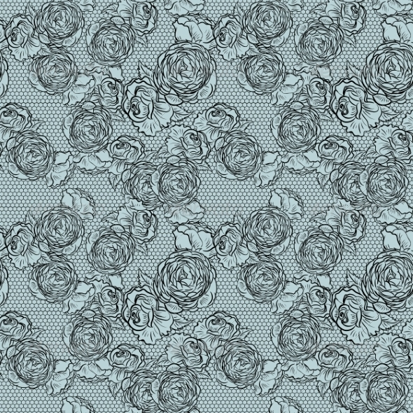 GraphicRiver Vintage Monochrome Roses Pattern with Lace 7019334