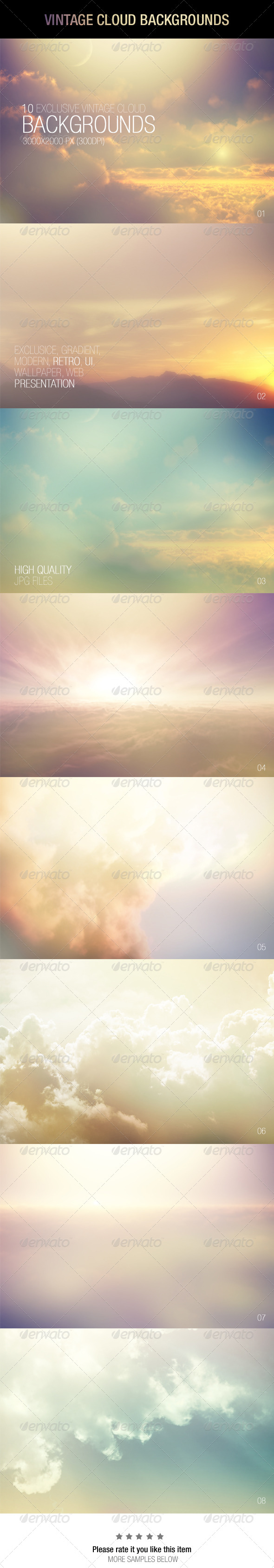 GraphicRiver Vintage Cloud Backgrounds 7019420
