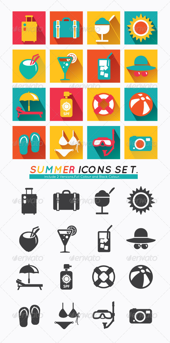 GraphicRiver Summer Icons Set Modern Flat Icons 7019947