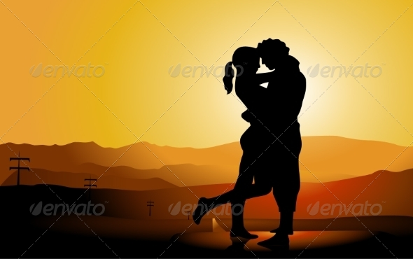 GraphicRiver Romantic Couple Silhouette on the Road 7021544