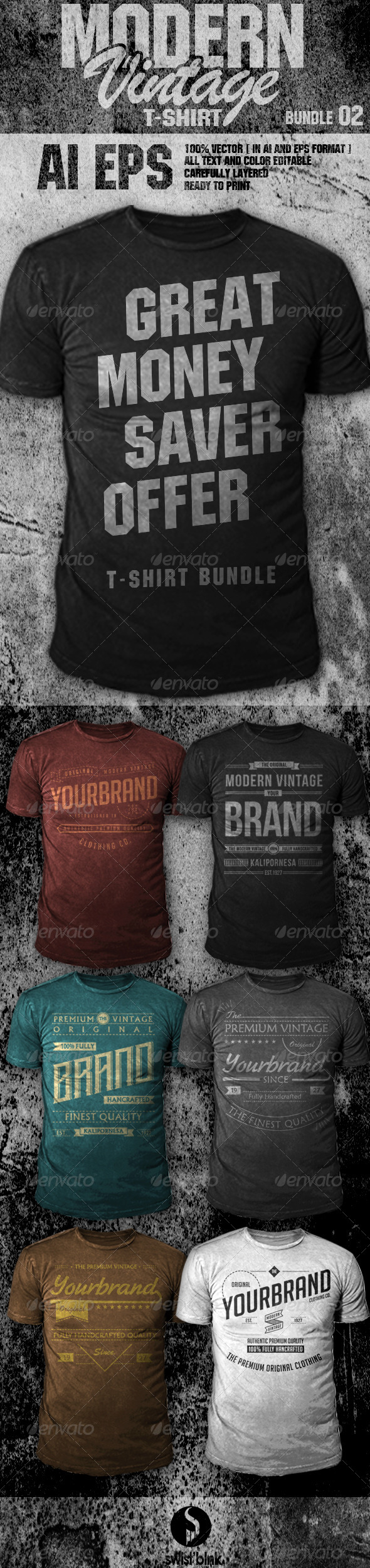 GraphicRiver Modern Vintage T-Shirt Bundle 02 7021550
