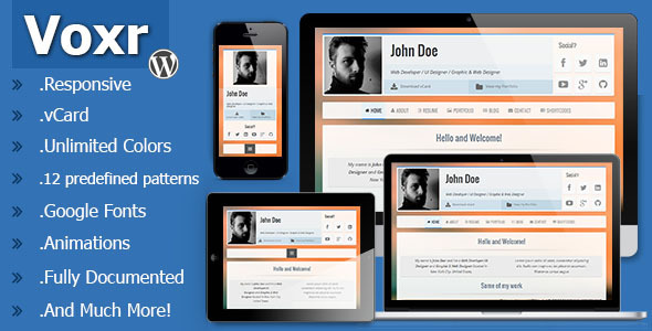 ThemeForest Voxr Responsive vCard Wordpress Theme 7021744