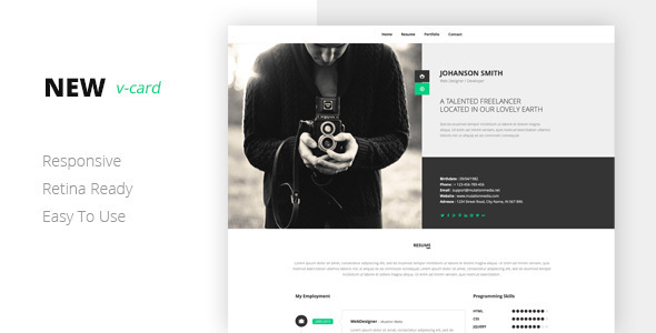 ThemeForest NEW Retina Ready Vcard Template 7021827
