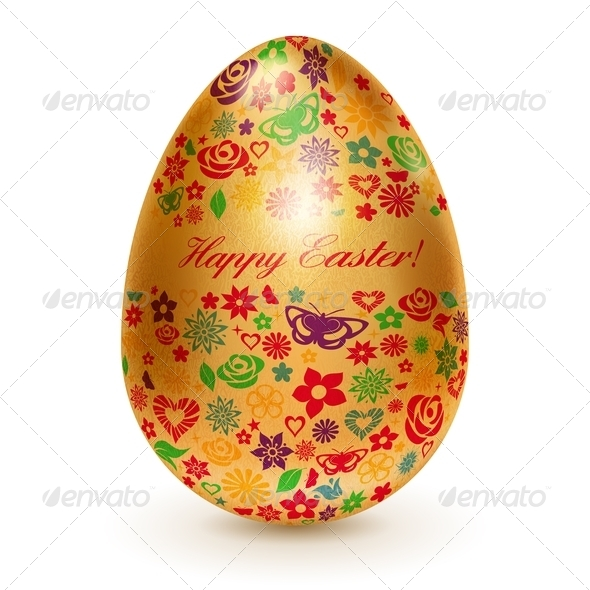 GraphicRiver Golden Easter Egg with Flowers 7021843