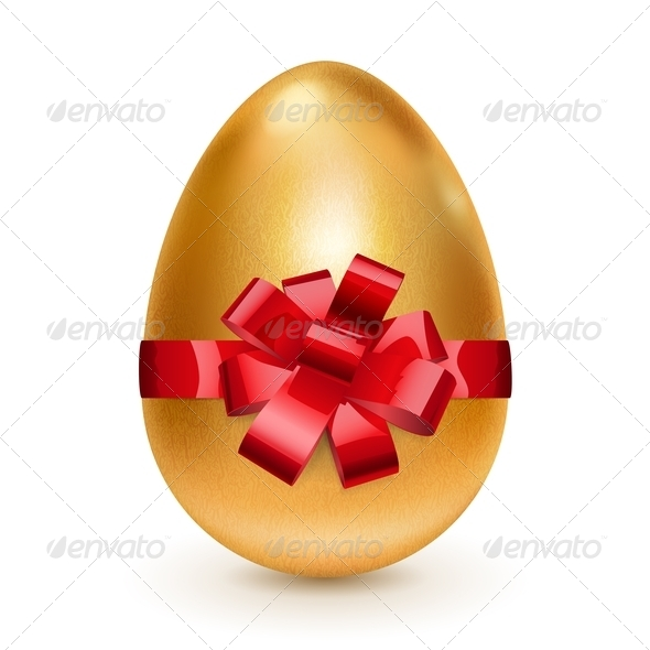 Golden Easter Egg with Red Bow  GraphicRiver