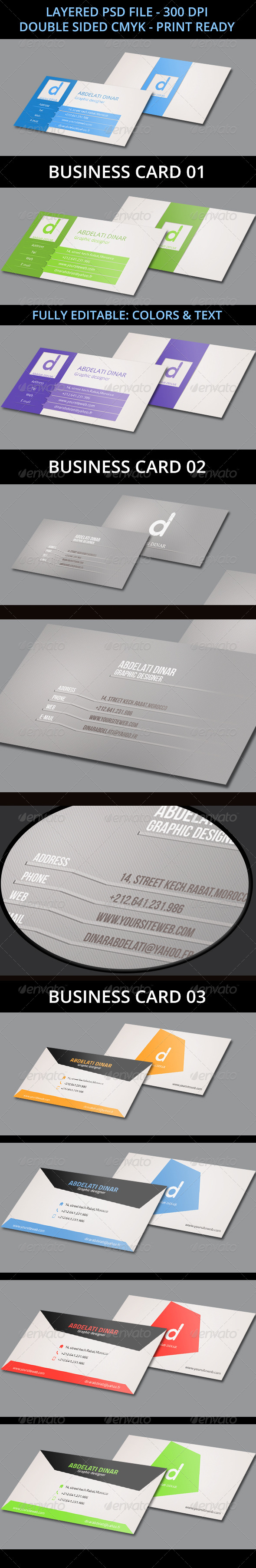 GraphicRiver 3 Business Cards Bundle 7022141