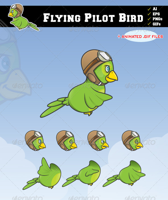 GraphicRiver Flying Pilot Bird 7008072