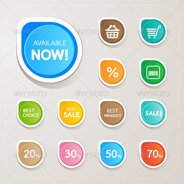 GraphicRiver Shopping Sticker Colorful Set 7022633