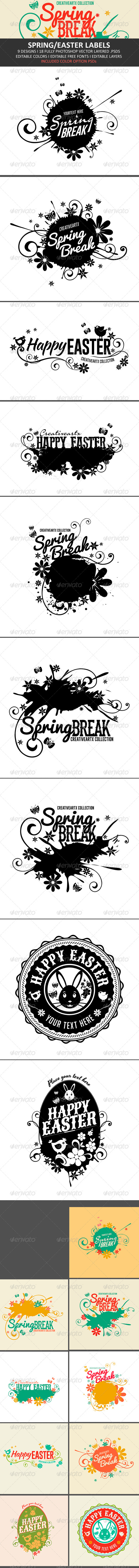 Spring/Easter Labels - Badges & Stickers Web Elements