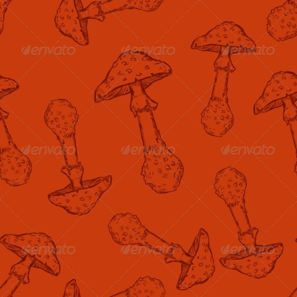 GraphicRiver Seamless Pattern of Mushrooms 7022814