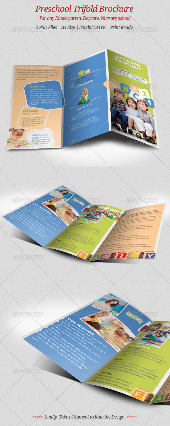 GraphicRiver Preschool Trifold Brochure 7023358