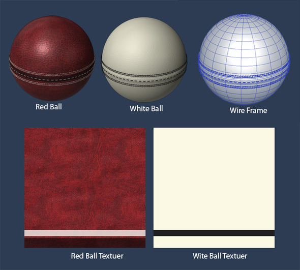 Cricket Ball (Red,White) - 3DOcean Item for Sale