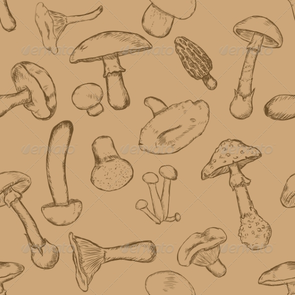 GraphicRiver Seamless Pattern of Sketch Mushrooms 7023525