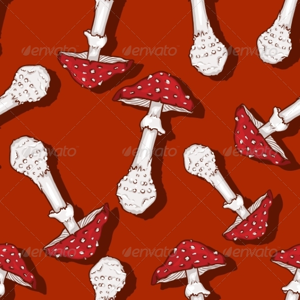 GraphicRiver Seamless Pattern of Amanita Muscaria 7023547