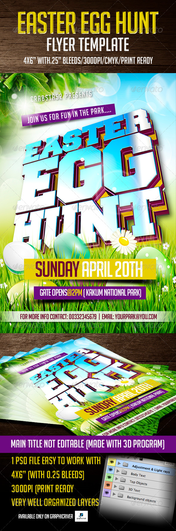 GraphicRiver Easter Egg Hunt Flyer Template 7024223