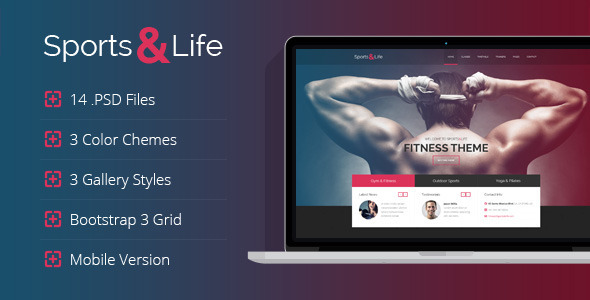 ThemeForest Sports&Life Gym & Fitness PSD Template 7024252